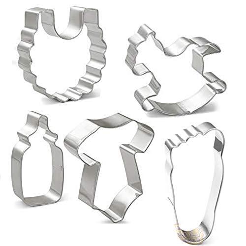 HONYAO Ausstechformen Baby Party Plätzchenausstecher Set - 5 Stück - Strampler, Lätzchen, Futterflasche, Schaukelpferd und Fußabdruck - Edelstahl