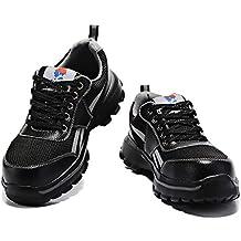 YXWa Botas para Hombres Botas de Seguridad para Hombres, Zapatos con Cabeza de Acero,