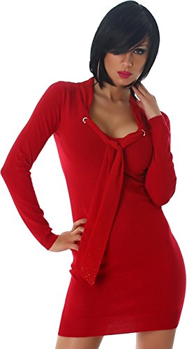 Feinstrick-Kleid / Long-Pulli mit Schalkragen & Strass-Applikation, Red