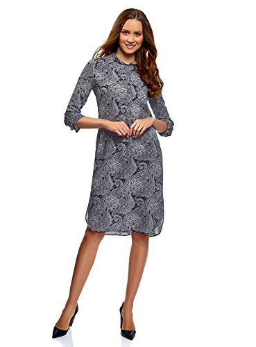 oodji Collection Femme Robe en Viscose Imprimée, Bleu, FR 36 / XS