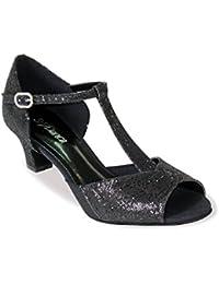Zapatos baile mujer cómodos y elegantes con tira en forma de T So Danca para Salsa Rumba Tango Latino Danza Baile Salón BL33 Suela de cromo tacón 3,8 cm negro brillante