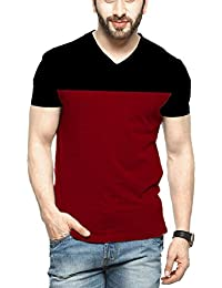 Veirdo Men's Cotton T-Shirt Black Maroon Casual T-Shirt