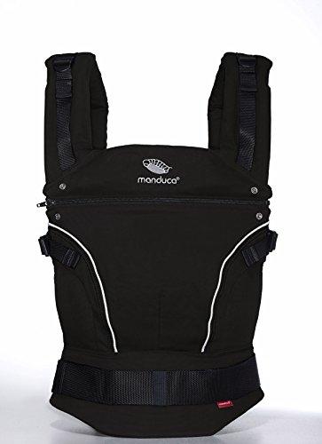 manduca Baby und Kindertrage, Bauch Hüft- und Rückentrage, Modell PureCotton Night Black, 3 Trage- Positionen fürs Baby, 3-P-Hüftgurtschnalle, 100% weiche Bio- Baumwolle, Produktion in Europa, schwarz