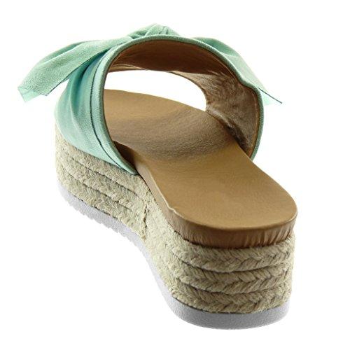 Piattaforma Slip Scarpa Intrecciato 5 on Nodo Modo Donna Cm Verde Mulo Zeppa Angkorly Sandalo 4 xW1q0wtqa