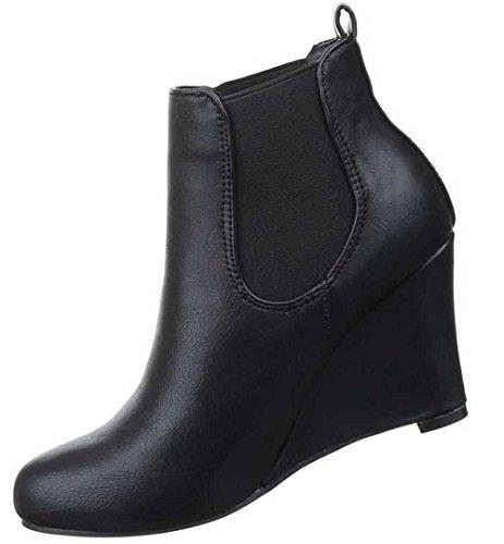 Damen Stiefeletten Schuhe Stretch Keil Wedges Schwarz Schwarz