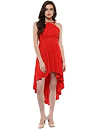 6bc3b1289a69c4 Roving Mode Women s Scuba Crepe Strappy High-Low Halter Neck Dress
