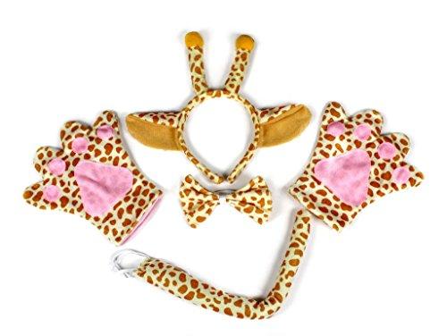 Womens Giraffe Kostüme (petitebelle Giraffe Stirnband Schleife Schwanz Handschuhe Kostüm Party für Erwachsene Gr. One Size,)
