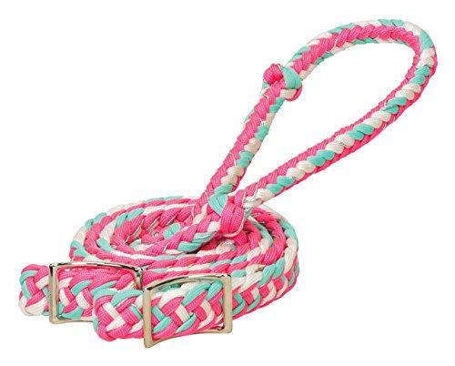 Weaver Leder geflochten Nylon Schaft Zügel, Hurricane, Pink/White/Mint/Sparkle