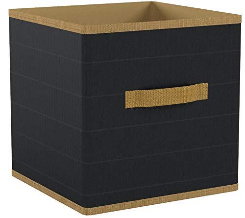 Relaxdays Faltbox, Bambus-Look, Quadratisch, mit Griff, HxBxT: 28,5 x 28,5 x 28,5 cm, Aufbewahrungsbox, Regalbox, Grau