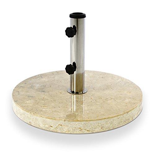 Nexos Sonnenschirmständer – Marmor poliert creme beige rund Ø 50cm 25kg – Schirmständer Ständer Sonnenschirm Edelstahl inkl. Reduzierringe