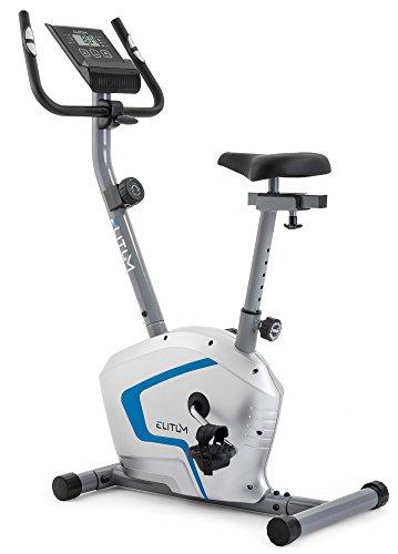 Heimtrainer RX300 Fitnessbike Ergometer mit Trainingscomputer, Pulssensoren und 7 kg Schwungrad, Smartphone Halterung, bis 125 kg (Silber)