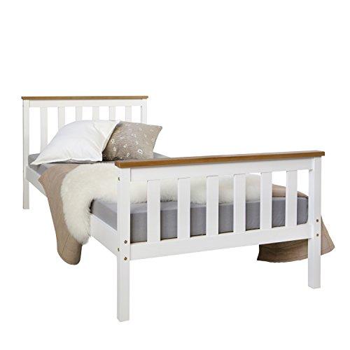 Homestyle4u 1842, Holzbett 90x200 cm weiß, Bett mit Lattenrost, Kiefer Massivholz