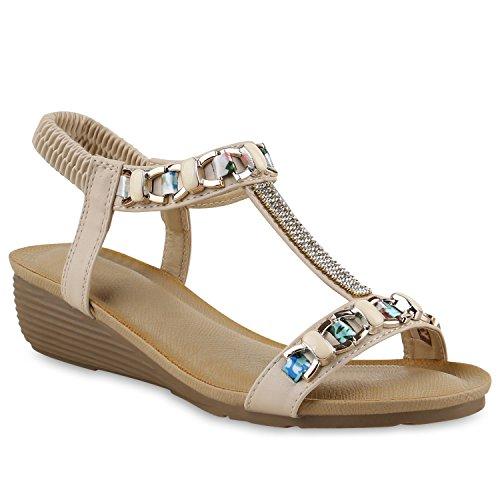 Stiefelparadies Damen Sandaletten Keilabsatz Strass Blumen Keilsandaletten Wedges Schuhe 138298 Creme Creme Ketten Strass 37 Flandell