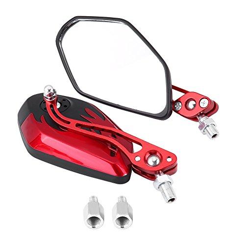 Keenso 1 Paar 8mm 10mm Universal Motorrad Rückspiegel Roller Aluminium Flamme Muster Seitenansicht Spiegel(Rot)