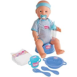 Simba - 105030044 - Poupée Enfant- New Born Baby - Fonction Pipi - Bleu - 43 cm