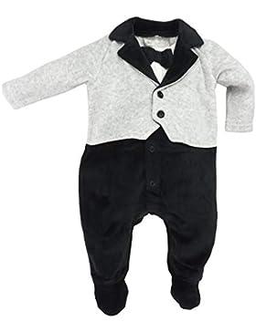 Rock a Bye Baby - Baby Jungen Strampler Anzug Smoking mit Fliege aus Nicki