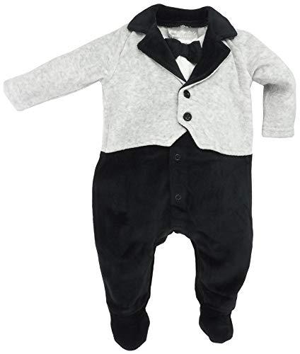 Rock a Bye Baby - Baby Jungen Strampler Anzug Smoking mit Fliege aus Nicki Gr. 56/62 (0/3M)