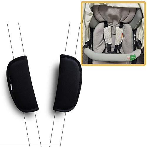 Autositzgurt Baby Gurtbezüge Kinderwagen / Kinderwagen Schulterpolster Soft Black 2 Stk