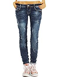 Bestyledberlin Damen Slim Fit Jeans, Schmale Used Look Hüftjeans j13l