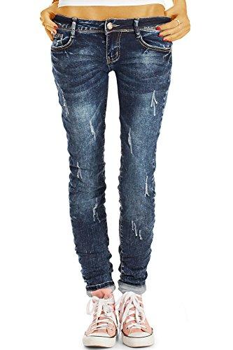 Bestyledberlin Damen Slim Fit Jeans, Schmale Used Look Hüftjeans j13l 36/S