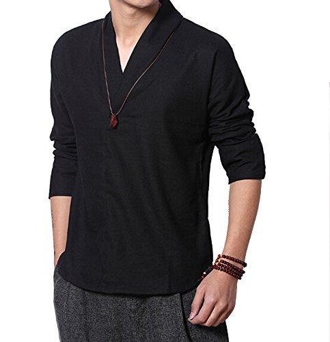 Tang Anzug Leinen Shirts Herren Lange Ärmel T-Shirt Schwarz