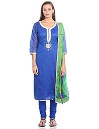 IndusDiva Embroidered Semi-stitched Kameez Set
