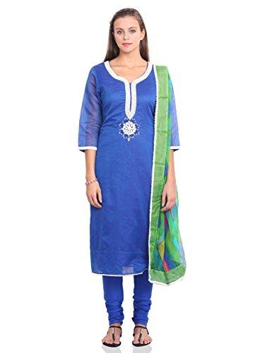 IndusDiva Embroidered Semi-stitched Kameez Set (MUM0860081_Blue_One Size)