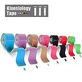 FriCARE 3 Rollos cinta de kinesiología Tape precortada X Y I, Resistente al agua Sporttape kinesiotape, Vendaje para el soporte muscular elástico de calidad para el deporte, el tiempo libre, la fisioterapia y la medicina, E-guide