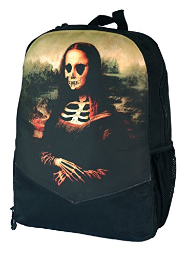 Rucksack mit Aufdruck Mona Lisa Skelett Totenkopf Darkside Rucksack Laptop (Lisa Mona Zombie)