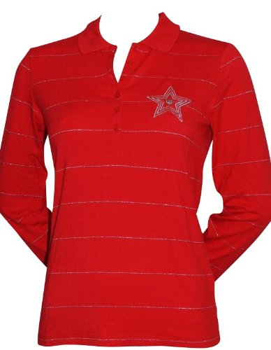 GANT Polo a maniche lunghe polo da donna elasticizzati taglia M rosso da donna in argento con motivo a righe