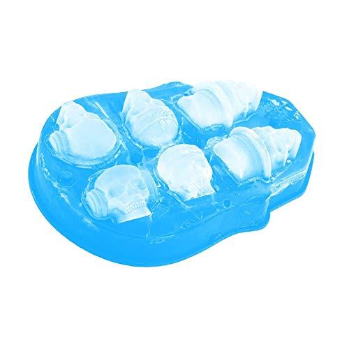 (SELIFY 3D Schädel Eiswürfelform, Eishockey Maker Schädel Eiswürfelschale Lebensmittelqualität Silikon Elastische Eiswürfelschale Lebensmittelqualität Silikon Eisformschale)
