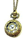 Taschen-Uhr edle Ketten-Uhren Herren Damen Umhängeuhr in Bronze Skelett Flower