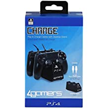 4Gamers - Licensed Twin Play Charge Cables Black (PS4)