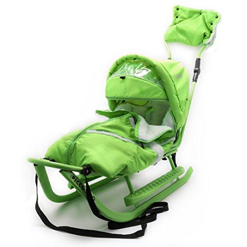 Baby Schlitten Piccolino Komfort Grün Kinderschlitten Rodel zum Schieben
