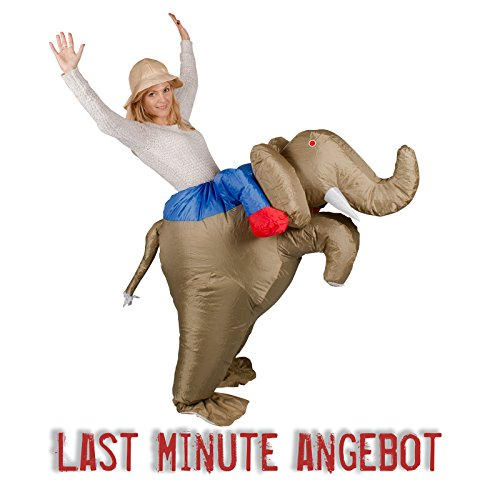 (Ambientehome aufblasbares Kostüm Elefanten Reiter Karneval Kostüm Fasching Dschungel)