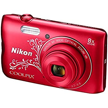 Nikon Coolpix A300 20.1MP Point and Shoot Camera with 8x Optical Zoom with Memory Card and Camera Case (Red Pattern)