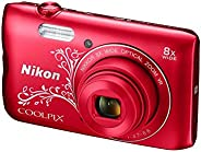 Nikon Coolpix A300 20.1MP Point and Shoot Camera with 8x Optical Zoom with Memory Card and Camera Case (Red Pa