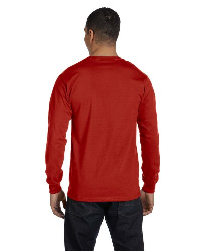 Hanes Tagless Long-Sleeve T-Shirt (Set of 2) 1 Deep Forest + 1 Deep Red
