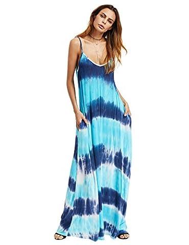 ROMWE Damen Maxikleid Tie-Dye Sommer Ombre Batik Strandkleid Jerseykleid Trägerkleid Blau XS