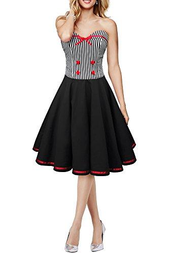 BlackButterfly 'Naomi' Vintage Marine Kleid im 50er-Jahre-Stil (Schwarz, EUR 40 - M) (Bustier Butterfly)
