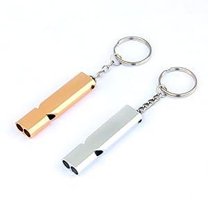 Viluola 2PS tubes double en métal de sécurité Sifflet Cordon et porte-clés pour sports de plein air Coach arbitre Camping Randonnée de dressage de chien (Or et Argent)