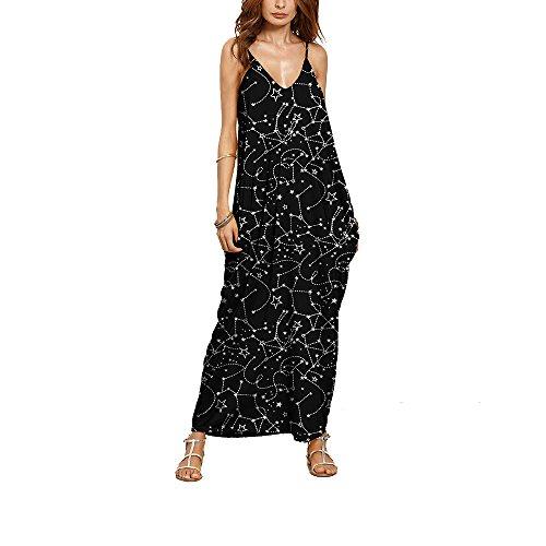 V Ausschnitt Kleid, Lylafairy Damen Boho Träger Sommer Strand Ärmellos Rückenfrei Lässiges Maxi Lang Kleid (L / (EU 40), 8)