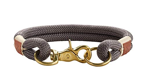 HUNTER Sansibar Rantum Halsung, Hundehalsband, Tau, modern, nautisch, 55 (L), grau