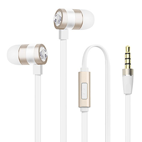 Luxear In Ear Premium Kopfhörer mit Mikrofon Stereo, Diamant Vollmetallgehäuse- Lärmdümmendes Gehäuse [Hohe Tonqualität,schick Design] 3,5 mm Klinkenstecker Ohrhörer für iPhone Android Smartphone Musik Player Tablet Laptop Macbook usw Gold