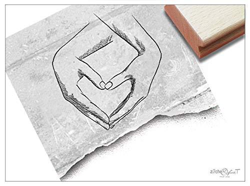 Stempel - Motivstempel Herz in Händen - Bildstempel Liebesgrüße Geschenk Valentinstag Verlobung Hochzeit Karten Gastgeschenk Tischdeko - zAcheR-fineT -