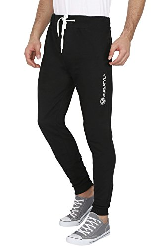 VERSATYL Jogger 100% Stretchable Cotton Men's Stylish and Casual Joggers Slim Fit Track Pants with Zip Pockets for Sports Gym Athletic Training Workout (Black XL)