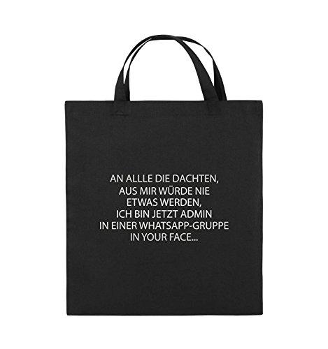 Comedy Bags - ADMIN WHATSAPP GRUPPE - Jutebeutel - kurze Henkel - 38x42cm - Farbe: Schwarz / Silber Schwarz / Silber
