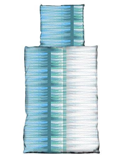 4 Teilig Microfaser Sommer Bettwäsche hauchdünn und kühlend aus 100% Mikrofaser 135x200 + 80x80 Trizio aqua