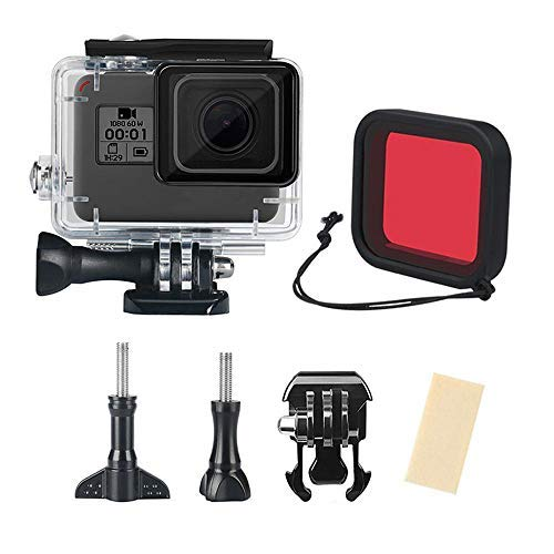 leegoal Wasserdichter Gehäuse für Hero 2018/Hero 7/Hero 6/Hero 5 Black, Universal 45m Dive Housing Cover Underwater Protective Shell mit Anti-Fog-Inserts, Filter für Go Pro Hero Action Camera