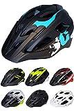 Skullcap® Fahrradhelm ♦ MTB Helm ♦ Mountainbike Helm ♦ Herren & Damen ♦ Schwarz/Neon-Grün matt ✚ Visier/Helmschild (Blue-Black-White, L)